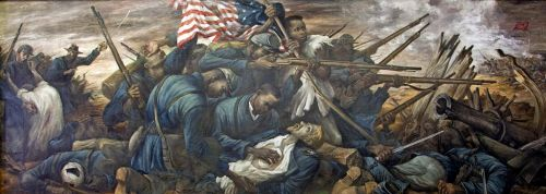 """The 54th Massachusetts regiment, under the leadership of Colonel Shaw in the attack on Fort Wagner, Morris Island, South Carolina, in 1863"""