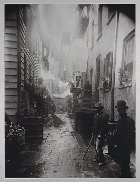The crime ridden area of Bandit's Roost (1888) by Jacob Riis, from How the Other Half Lives.  - See more at: http://hnn.us/article/155583#sthash.3RP6JbgP.dpuf