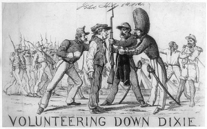 "Volunteering Down Dixie,a northern cartoon, satirizes the enlistment of Confederate troops as two ""Black Confederates"" look on."