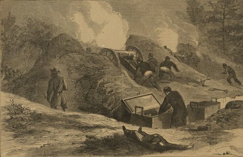 A Union artillery battery at Cold Harbor. Library of <Congress