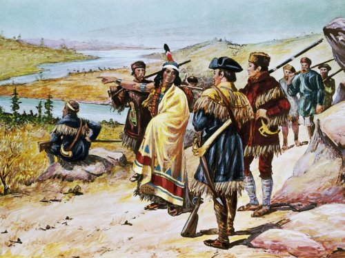 Sacajawea guiding the expedition from Mandan through the Rocky Mountains. Painting by Alfred Russell. (© Bettmann/CORBIS)