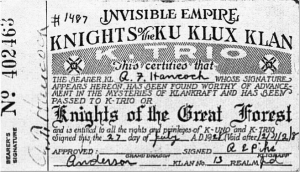 Membership card of A.F. Handcock in the Invisible Empire Knights of the Ku Klux Klan (1928)