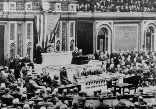President Woodrow Wilson announced to a joint session of Congress on April 2, 1917, that a new age had begun. Credit Associated Press