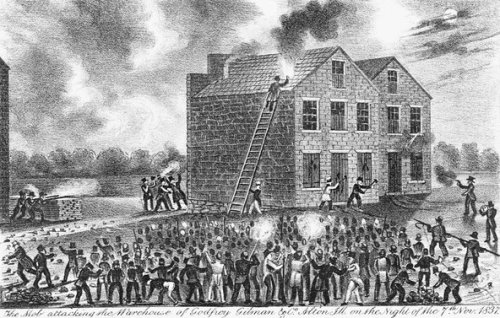 A mob attacking the warehouse of Godfrey & Gilman in Alton, Ill., where the abolitionist Elijah Lovejoy was killed in 1837.Credit Corbis